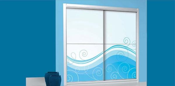 White Blue Design Sliding Door